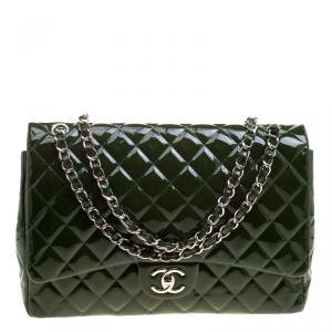 Chanel Green Quilted Patent Leather Maxi Classic Double Flap Bag