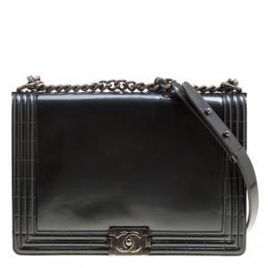 Chanel Grey Patent Leather Large Boy Flap Bag