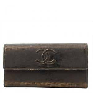Chanel Metallic Bronze Embossed Leather CC Timeless Flap Wallet