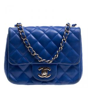 Chanel Blue Quilted Leather Mini Classic Single Flap Bag