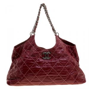 Chanel Red Quilted Leather Wild Stitch Chain Tote
