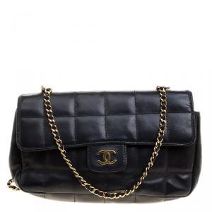Chanel Black Chocolate Bar Quilted Leather East West Flap Shoulder Bag