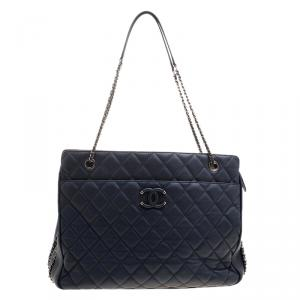 Chanel Navy Blue Quilted Leather Shopper Tote