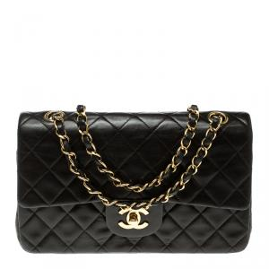 Chanel Brown Quilted Leather Small Vintage Classic Double Flap Bag