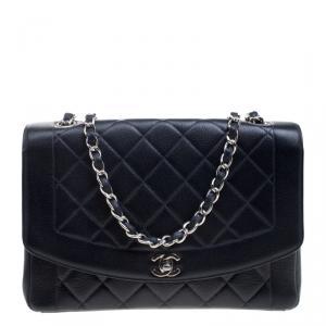 Chanel Navy Blue Quilted Caviar Leather CC Vintage Flap Shoulder Bag