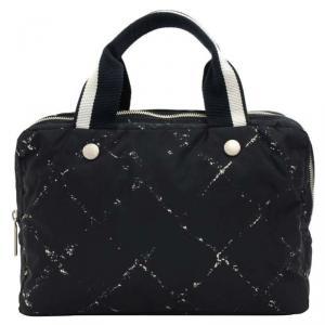 Chanel Black Nylon Travel Line Satchel Bag