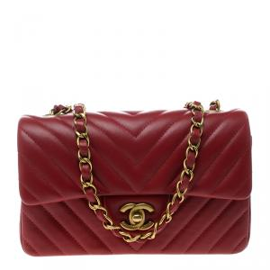 Chanel Dark Red Chevron Leather New Mini Classic Flap Bag