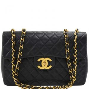 Chanel Black Quilted Leather Maxi Jumbo XL Vintage Classic Flap Bag