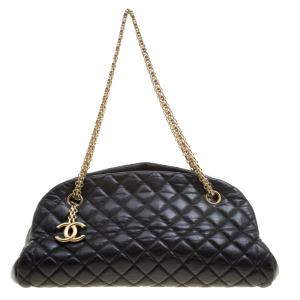 Chanel Black Quilted Leather Medium Just Mademoiselle Bowling Bag