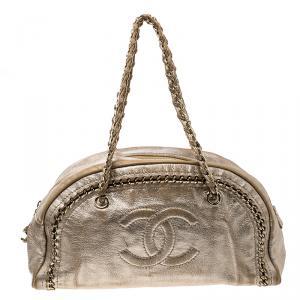 Chanel Metallic Gold Leather Medium Chain Trim Luxe Ligne Bowler Boston Bag