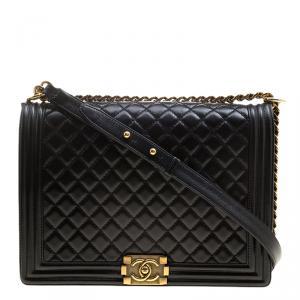 Chanel Black Quilted Glazed Leather Large Boy Flap Bag