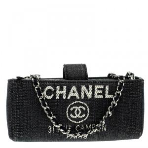 حقيبة سلسلة ومحفظة شانيل دوفيل دنيم زرقاء