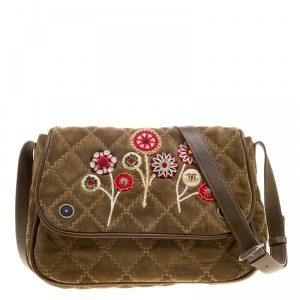Chanel Khaki Quilted Stitch Suede Embroidered Crossbody Flap Bag