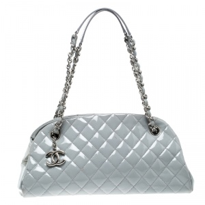 Chanel Light Grey Quilted Leather Just Mademoiselle Bowling Bag