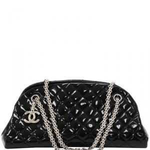 Chanel Black Quilted Patent Leather Just Mademoiselle Bowling Bag