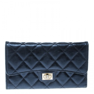 Chanel Metallic Blue Quilted Leather Reissue Trifold Wallet