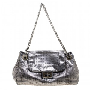 Chanel Grey Drill Perforated Leather Large Classic Flap Accordion Bag