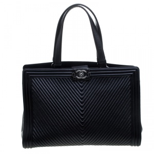 Chanel Black Chevron Quilted Leather Large Boy Shopping Tote