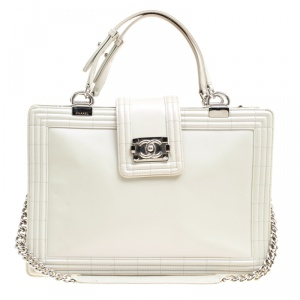 Chanel Off White Leather Reverso Boy Tote