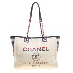حقيبة يد شانيل دوفيل شوبر كانفاس متعددة الألوان بيج