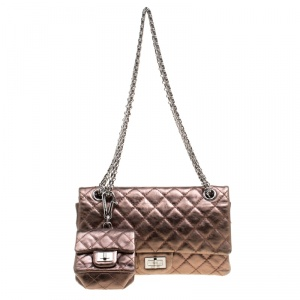 Chanel Bronze Quilted Leather Reissue 2.55 Classic 225 Flap Bag with Coin Purse Accessories