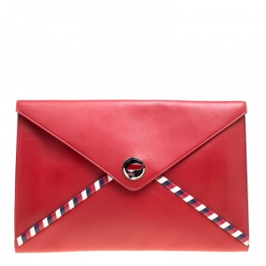 Chanel Red Leather Airline Envelope Pouch