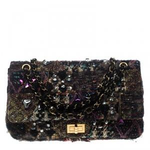 حقيبة شانيل قلاب ريإشو لسغ إصدار محدود جواهر وتويد متعدد الألوان