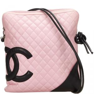 Chanel Two Tone Quilted Leather Ligne Cambon Messenger Bag
