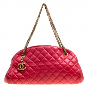 Chanel Red Quilted Leather Medium Just Mademoiselle Bowling Bag