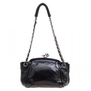 Chanel Black Leather Kisslock Accordian Shoulder Bag