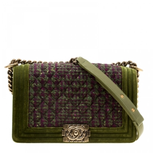 Chanel Olive Green Quilted Tweed and Velvet Medium Boy Flap Bag