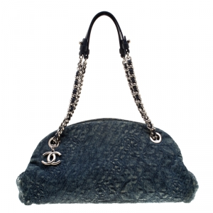 Chanel Blue Camellia Embroidered Denim Just Mademoiselle Bowling Bag