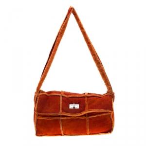 Chanel Orange Suede and Mouton Fur Reissue Shoulder Bag