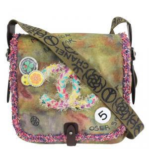 Chanel Multicolor Khaki Canvas Peace & Love' Shoulder Bag