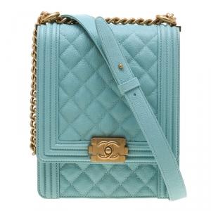 Chanel Teal Green Leather Boy Shoulder Bag