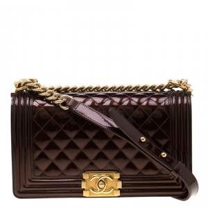 Chanel Dark Brown Quilted Patent Leather Medium Boy Flap Bag
