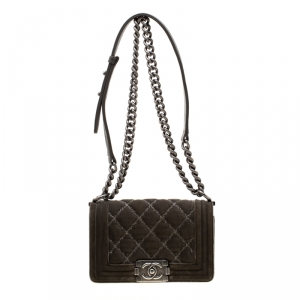 Chanel Dark Olive Green Quilted Velvet Small Boy Flap Bag