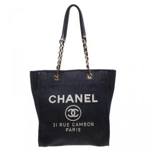 حقيبة يد شانيل سلسلة دوفيل نورث ساوث دنيم زرقاء