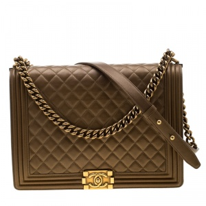 Chanel Brown Quilted Leather Large Boy Flap Bag