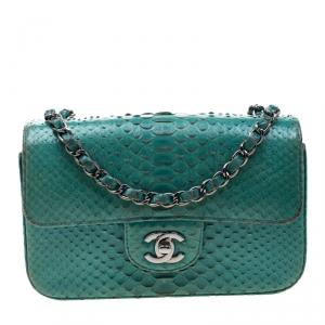 Chanel Turquoise Python New Mini Classic Single Flap Bag