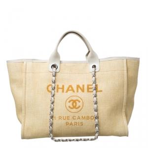 حقيبة يد شانيل دوفيل كبيرة رافيا بيج
