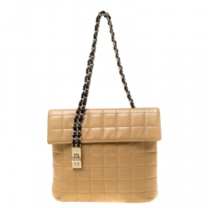 Chanel Beige/Black Quilted Leather Choco Bar Reissue Shoulder Bag