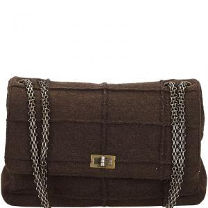 Chanel Brown Wool Reissue 225 Chain Flap Bag