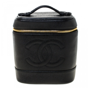 Chanel Black Caviar Leather Vanity Case