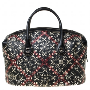 Chanel Black Printed Coated Canvas Boston Bag