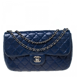 Chanel Blue Quilted Beaded Leather Small Flap Bag
