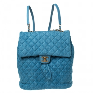 Chanel Blue Quilted Denim Large Urban Spirit Backpack