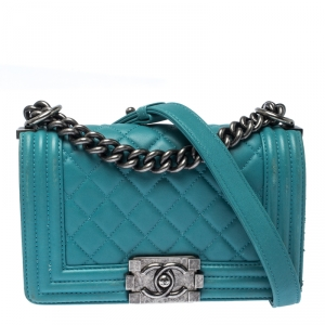 Chanel Green Quilted Leather Small Boy Flap Bag