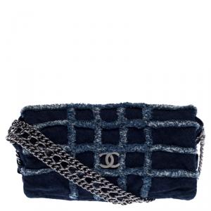 Chanel Blue Quilted Denim Flap Triple Chain Shoulder Bag