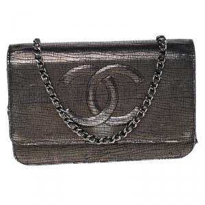 Chanel Grey Textured Leather CC WOC Clutch Bag
